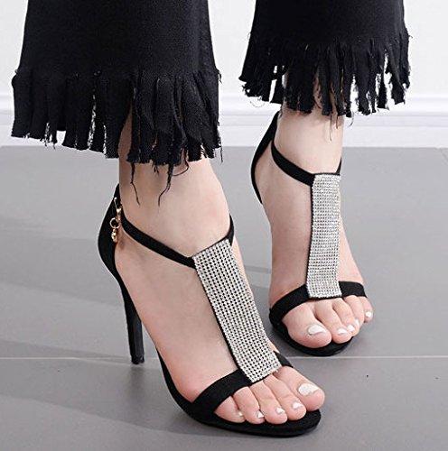ZHUDJ Strass Sandaletten_Weibliche Stiletto Heels T Schnalle Gucci Frauen Hochhackigen Sandalen, Schwarz, 38 (Gucci Schuhe Schwarz)