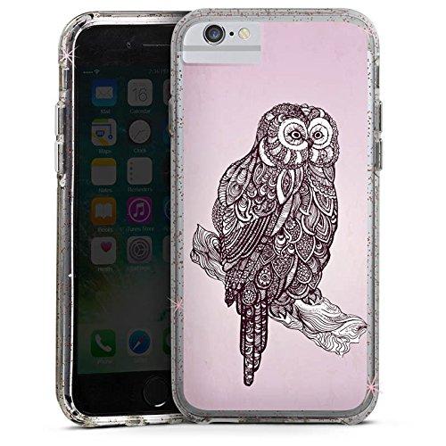 Apple iPhone 6s Plus Bumper Hülle Bumper Case Glitzer Hülle Eule Uhu Owl Bumper Case Glitzer rose gold