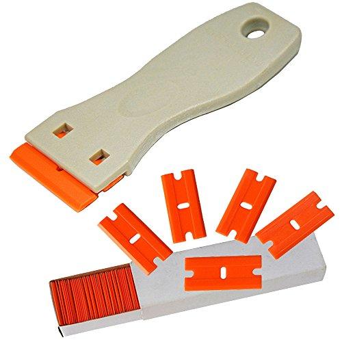 """Ehdis® 1.5"""" haute visibilité Mini rasoir en plastique à double tranchant Lame grattoir avec 100PCS plastique Razor Blades scraper pour racler Etiquettes et décalques de verre, pare-brise"""