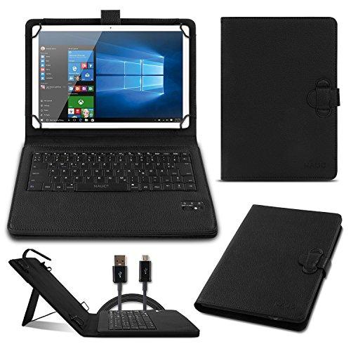 NAmobile Tastatur Hülle QWERTZ Bluetooth für Trekstor Surftab B10 Schutzhülle Cover Tablet Tasche Case Keyboard kabellos Ultra dünn ergonomisches Design deutsches Layout