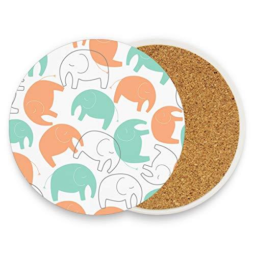 Montoj - Posavasos absorbentes para bebidas, diseño de elefantes, madera, 1, 1...