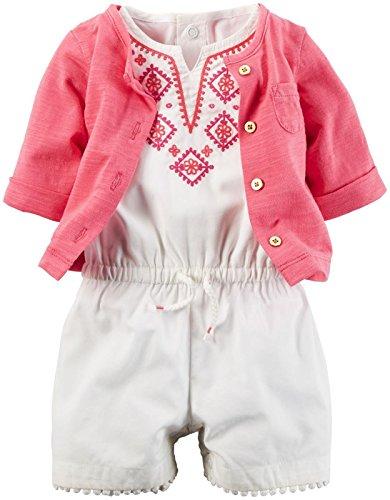 Carter's 2 teiliges Set Größe 62/68 Overall ohne Arm und Jacke Bestickt Mädchen Sommer weiß/rosa US Size 6 Month Carters Overall