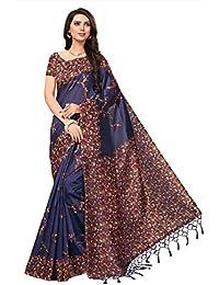 Fabwomen Sarees Kalamkari Blue And Multi Coloured Kashmiri Silk With Tessels Fashion Party Wear Women's Saree/...