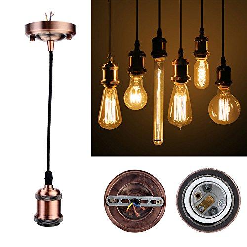 GreenSun LED Lighting Vintage Edison E27 Douille de lampe avec culot de lampe antique avec câble de 1,35 m