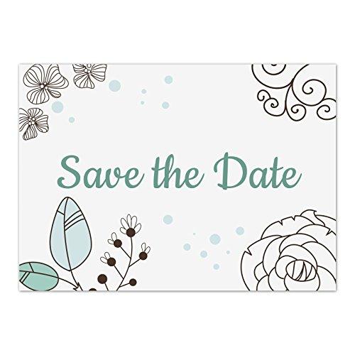 15 x Save the Date Karten mit Umschlag / Moderne Grafik Türkis / Hochzeit / Heiraten / Geburtstag / Einladung / Verkündung