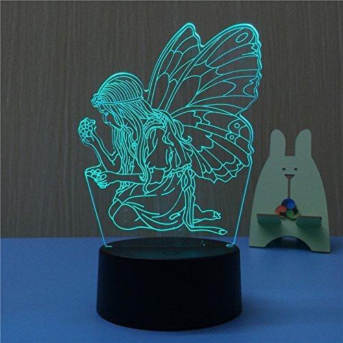 3D Engel Illusions LED Lampen Tolle 7 Farbwechsel Acryl berühren Tabelle Schreibtisch-Nacht licht mit USB-Kabel für Kinder Schlafzimmer Geburtstagsgeschenke Geschenk.