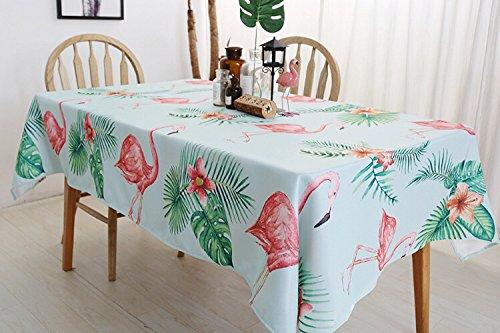 Drizzle Mantel Flamenco Flamingo Tablecloth Rosa Hojas de Palmeras Tropicales Rectangular Poliéster Algodón Diseño de Comedor Decoración del Hogar (39 * 51in/100 * 130cm)