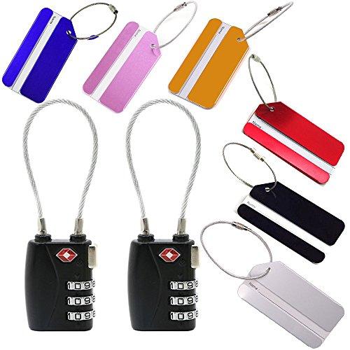 Preisvergleich Produktbild Okaytec 2 x TSA-Gepäckschlösser Stahlseil + 6 x Kofferanhänger Gepäckanhänger mit Adressschild Metall in verschiedene Farben