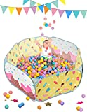 SUGAR Q Safe Solid Big Size Yellow Ball Pit Play Tent for Baby Boys Girls with Sweet Ice Cream Pattern with Zipper Storage Bag Outdoor Indoor Party(SPT004)