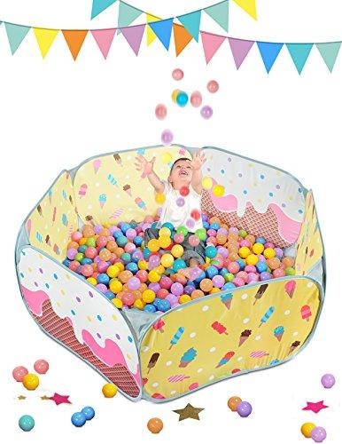 Sugar Q® großes bewegliches faltbares Pop-up-Gelb-Spiel-Zelt-Ball-Gruben-Ball-Pool-Laufgitter, ideal für Kindermädchen-Jungen-Geburtstags-Geschenk-Weihnachtsfest Innenim Freien, ungiftig, geruchsfrei, mit 25 Plastikozean-Ball