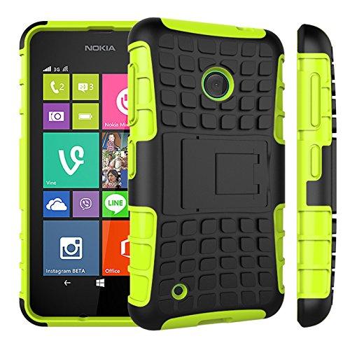 Qiaogle Telefon Case - Shockproof TPU + PC Hybrid Ständer Schutzhülle Case für Nokia Lumia 530 (4.0 Zoll) - HH06 / Grün (Nokia Lumia 530 Case Hybrid)
