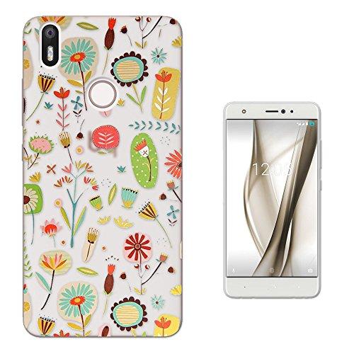 Retro Floral Wallpaper (c00431 - Cool Fun Trendy Cute Kawaii Wallpaper Shabby Chic Flowers Retro Design BQ Aquaris X / X PRO 5.2