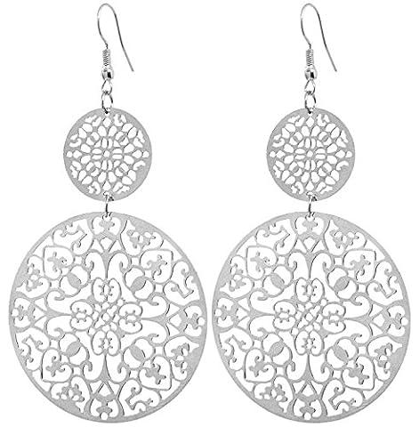 2LIVEfor Lange Ohrringe Silber Tropfen Blumen Muster Ohrringe lang Hängend