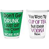 "Pics And You Quotes Themed 2228 Set Of 2 Shot Glass (Printed Glass, 2""x2.3"", Set Of 2 Pieces) - SGQT167-193"