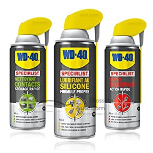 Pack WD40 Nettoyant contact + Lubrifiant au silicone + Super dégrippant 400ml