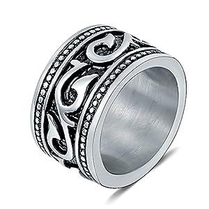 Beglie Ringe Herren Gothic Bandring Edelstahl Herren Siegelring Herren Blatt Totenkopf Ring Gothic 15MM Signet Ring Band Ring Daumenring für Mann
