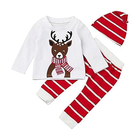 Sunenjoy Bébé garçon fille 3 PCs Set costumes de Noël cerfs imprimés Tops + rayé pantalons longs + casquette vêtements (6-12 mois)
