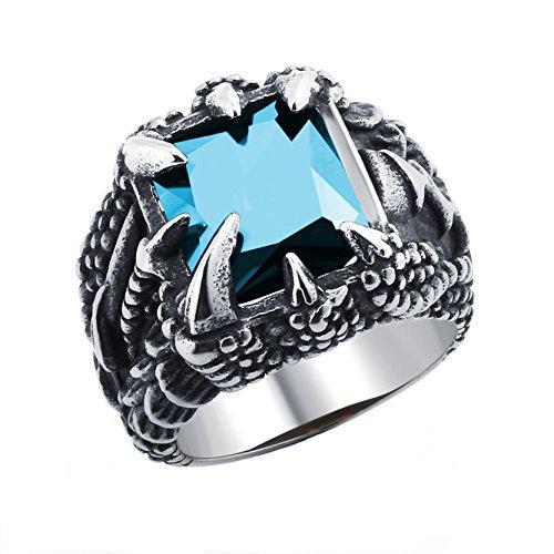 Anillo gótico de la garra del dragón del acero inoxidable de la moda con el cristal azul de cielo