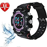 Fitness Tracker, Smart Watch, Men 50 ATM Waterproof Wristwatch Women MX16 Sport Armband Herzfrequenz-Monitor 10 Tage Long Time Standby,Purple