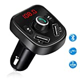 Transmetteur FM Bluetooth, VPROOF Kit Voiture Mains Libres Chargeur Allume-Cigare Adaptateur Radio Sans Fil avec Dual Port USB, Support USB Flash Drive TF Card pour iPhone Samsung Sony HUAWEI iPad (Noir)