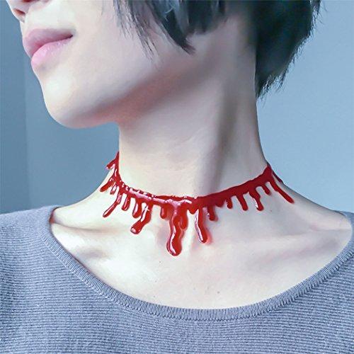 Halloween costume accessorio, outgeek scary red bloody gocce collana costumi fun choker collana