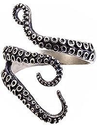 BODYA Gothic Punk Stainless Steel Octopus Tentacle Ring Squid Kraken Nyarlathotep Size Adjustable