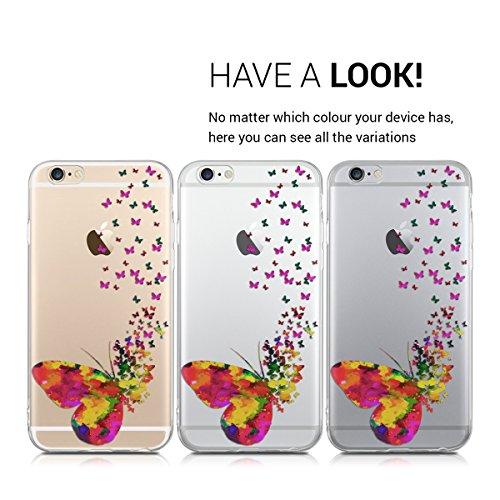 kwmobile Hülle für Apple iPhone 6 / 6S - TPU Silikon Backcover Case Handy Schutzhülle - Cover klar Indische Sonne Design Rosa Weiß Transparent Schmetterling Schwarm IMD Pink Transparent