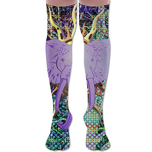 ouyjian Unisex Football Socks Psychedelic Elephant Art Style Knee-Highs Long Socks