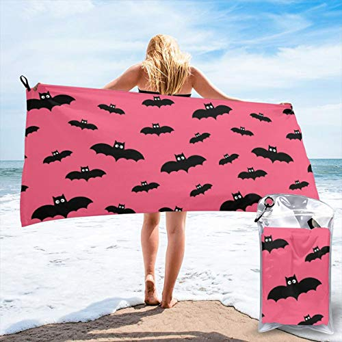 Fun Life Art Fast Quick Dry Towel,Sports & Beach Towel.Bats On Hot Pink Halloween Suitable for Camping, Gym, Yoga,Swimming,Travel,Hiking,Backpacking.