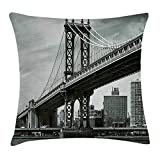 Icndpshorts New York Throw Pillow Cushion Cover, Bridge of NYC Vintage East Hudson River Image USA Travel Top Place City Photo Art Print, Decorative Square Accent Pillow Case, 18 X 18 inches, Grey