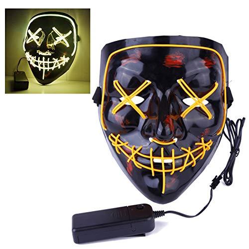 EisEyen Halloween Maske LED Light EL Wire Cosplay Maske Purge Mask für Festival Cosplay Halloween Kostüm(Lila, Gelb, Weiß, Rot, Orange,Blau, Grün (Die Purge Kostüme Für Frauen)