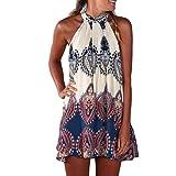 Elecenty Damen Knielang Sommerkleid Rock Chiffon Mädchen Lose Kleider Frauen Mode Langarm Kleid Minikleid Blumen Kleidung Abendkleider Partykleid Hemdkleid Blusekleid (2XL, Weiß)