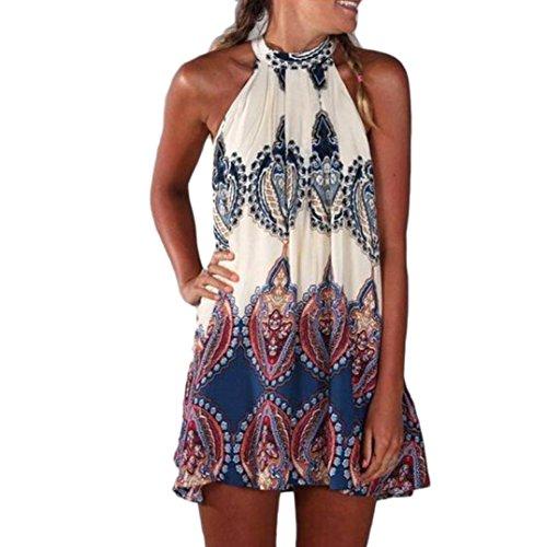 Elecenty Damen Knielang Sommerkleid Rock Chiffon Mädchen Lose Kleider Frauen Mode Langarm Kleid Minikleid Blumen Kleidung Abendkleider Partykleid Hemdkleid Blusekleid (M, Weiß)