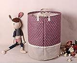Addfun®Prämie Stoff Faltbare Runden Wäsche Korb,Stitching Spitze Wäsche Korb Kinder Spielzeug Lagerung Halter mit Lids 35 * 45cm(Lila Dot)