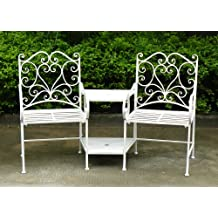 Charles Bentley Garden Heart-Shaped Wrought Iron Companion Seat Metal Love Seat - White (Also Available In Black)