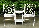 Bentley Garden - Ensemble chaises de jardin et table intégrée - fer forgé - motif coeur - blanc...