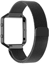 Fitbit Blaze Frame + Armband (6,7-8,1 Zoll) , mit Einzigartige Magnet-Verschluss, PUGO TOP Replacement Wrist Band Uhrenarmband fur Fitbit Fitness Uhr Blaze