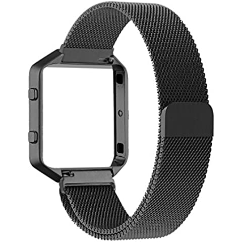 Fitbit Blaze Accessories Band, PUGO TOP Metal Frame Housing with Magnet Lock Milanese Loop Stainless Steel Bracelet Strap Band for Fitbit Blaze Smart Fitness Watch -negro