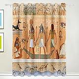 Coosun Égypte ancienne Scène Rideaux occultant occultant Isolation thermique Polyester Grommet Top Store Rideau pour chambre à coucher, salon, 2Panel (55W X 84L pouce), Polyester, Multicolor#1, 84x55 in