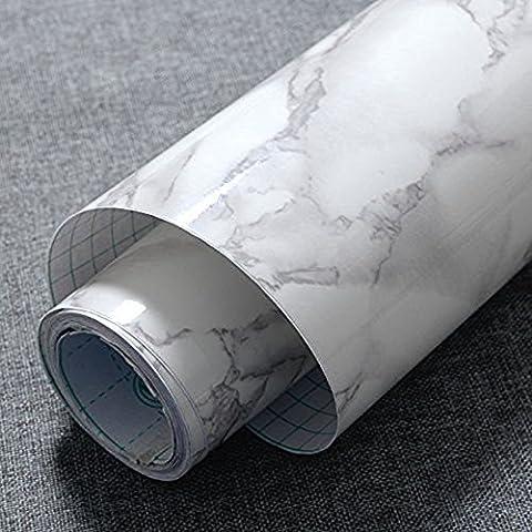 Jiubing Marbre gris Look Contact papier Gloss Film vinyle autocollant