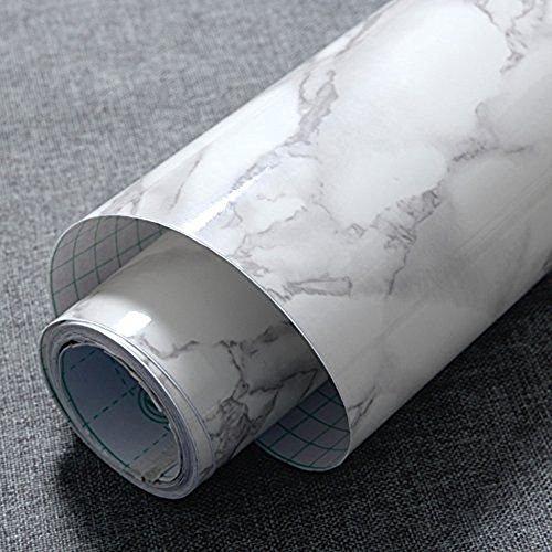 Granit Grau Tür (jiubing grau Marmor Optik Kontakt Papier Glänzende Folie Vinyl Selbstklebende Rückseite Granit Wandregal rutschsicher Abziehen und Aufkleben Wand Aufkleber zum Abdecken Counter Top Küche Schrank (61cm * 200cm))