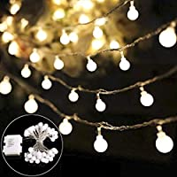 Lichterkette B-right 40 LEDs Globe Lichterkette, LED Lichterkette warmweiß, batteriebetrieben, Innen- und Außen Lichterkette Glühbirne, Weihnachtsbeleuchtung für Weihnachten Hochzeit Party Weihnachtsbaum