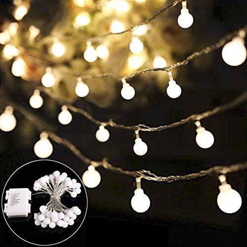 Lichterkette B-right 40 LED Globe Lichterkette, LED Lichterkette batteriebetrieben warmweiß, Innen und Außen Lichterkette Glühbirne, Weihnachtsbeleuchtung für Weihnachten Hochzeit Party Weihnachtsbaum
