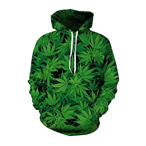 W-WORDEW Unkraut Blatt Hoodies Sweatshirt 3D Druck Unisex Plus Size Pullover LäSsige DüNne Sweatshirts Tops Masculino 1 XL -