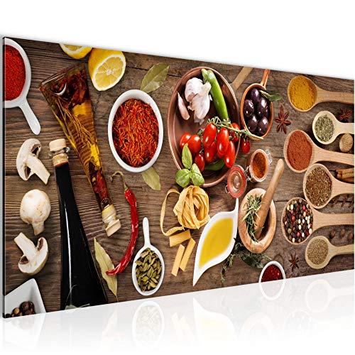 Bilder Küche - Gewürze Wandbild 100 x 40 cm Vlies - Leinwand Bild XXL Format Wandbilder Wohnzimmer Wohnung Deko Kunstdrucke Braun 1 Teilig - Made IN Germany - Fertig zum Aufhängen 003112a
