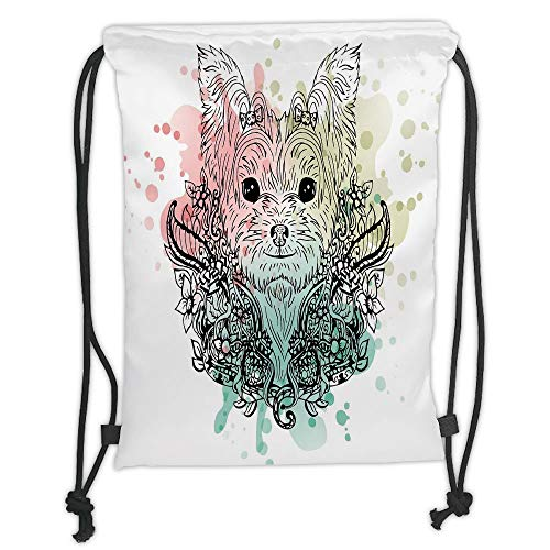 Fashion Printed Drawstring Backpacks Bags,Yorkie,Sketch of a Cute Yorkshire Terrier on a Bed of Flowers Black and White Drawing Art,Black White Soft Satin,5 Liter Capacity,Adjustable String Closur