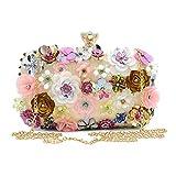 AOLVO - Bolso de Noche con Flores, Bolso de Mano con Cadena de Cruz, diseño de Lentejuelas, Bolso de Mano con Cuentas, Mujeres, Fiestas, Bodas