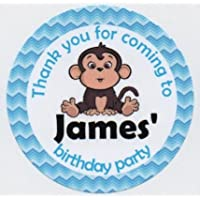 """MISCHIEVOUS MONKEY Design 1 """"Thank you for coming to my Birthday Party"""" Stickers - PERSONALISED A4 Sheet of 15 x 50mm Round Party Bag Stickers"""