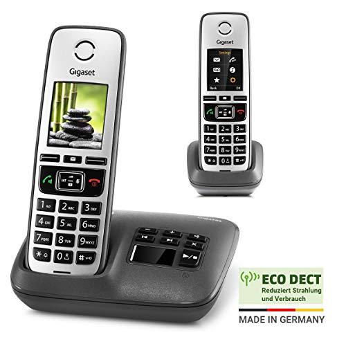 Gigaset Family mit Anrufbeantworter - 2 schnurlose Telefone mit großem, farbigem Display und hoher Reichweite - anthrazit-grau