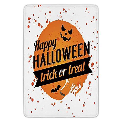 VTXWL Bathroom Bath Rug Kitchen Floor Mat Carpet,Halloween,Happy Halloween Trick or Treat Watercolor Stains Drops Pumpkin Face Bats,Orange Black White,Flannel Microfiber Non-Slip Soft Absorbent
